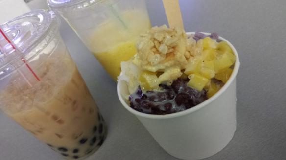 My boba fetish. (Thai tea with boba, mango coconut slush with boba, and [boba-free but equally delicious] halo-halo.)